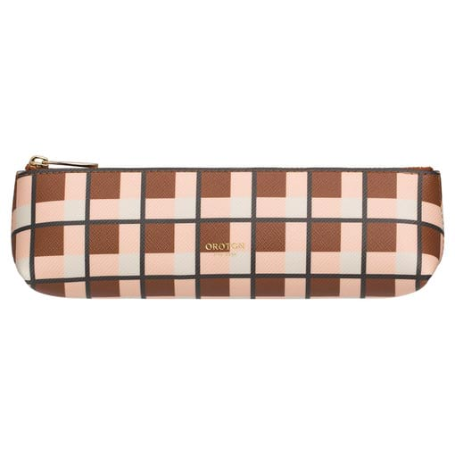 Oroton Inez Print Pencil Case in Cognac Check and Printed Saffiano PVC for female