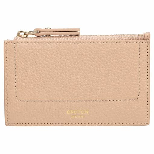 Oroton Lucy 4 Credit Card Zip Pouch in Praline and Pebble Leather for female