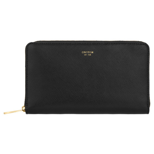 Oroton Inez Zip Book Wallet in Black and Shiny Soft Saffiano for female