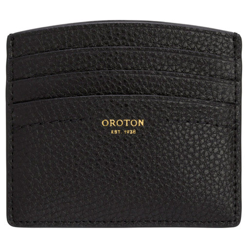 Oroton Atlas Credit Card Sleeve in Black and Pebble Leather for female