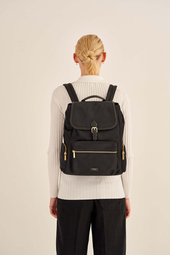 Oroton Ella Baby Backpack in Black and Nylon/Vachetta for female