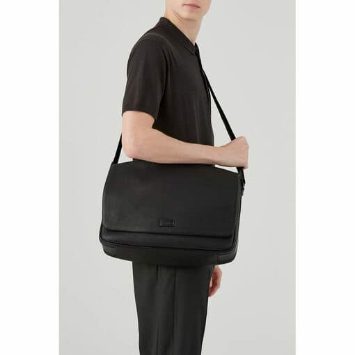 Oroton Preston Ew Satchel in Black and Pebble Leather for male