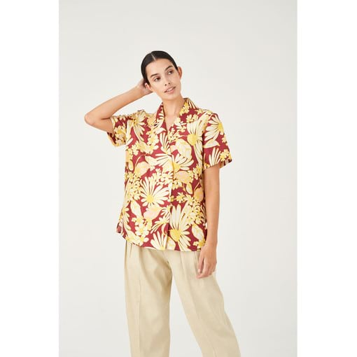 Oroton Silk Winter Daisy Print Double Breasted Camp Shirt in Wineberry Print and 100% Silk for female