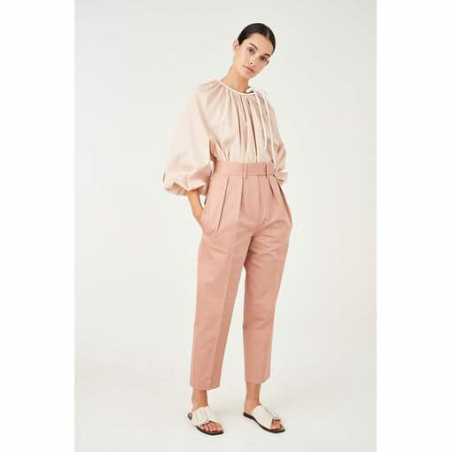 Oroton Sateen Cotton-Linen Pleat Front Pant in Rosewood and 70% Cotton 30% Linen for female