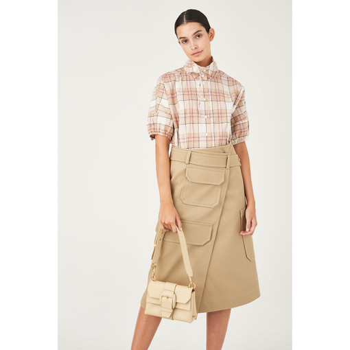 Oroton Cotton Pocket Detail Utility Wrap Skirt in Rye and 100% Cotton for female