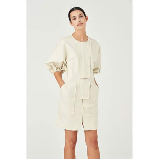 Oroton Cotton Full Sleeve Utility Mini Dress in Cream and 100% Cotton for female