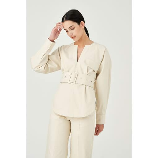 Oroton Cotton Drill Long Sleeve Belted Popover in Cream and 100% Cotton for female