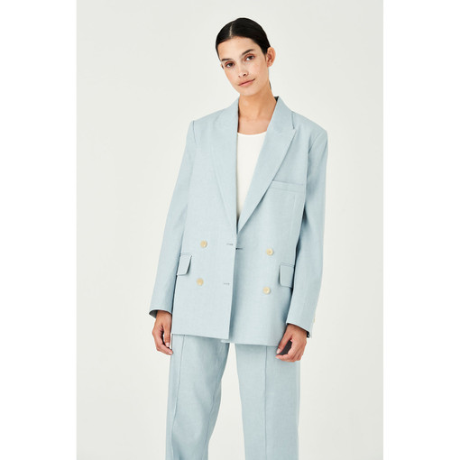 Oroton Cotton-Linen Double Breasted Blazer in Blue Haze and 65% Linen 34% Cotton 1% Elastane for female