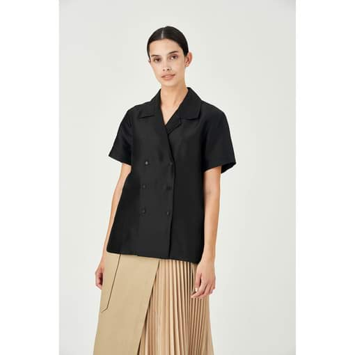 Oroton Silk Double Breasted Camp Shirt in Black and 100% Silk for female