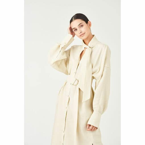 Oroton D-Ring Detailed Shirt Dress in Stone and 75% Viscose 25% Polyester for female