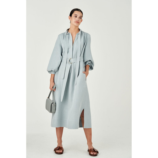 Oroton Silk-Linen Zip Through Dress in Blue Haze and 55% Silk 45% Linen for female