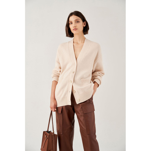 Oroton Wool Belted Cardigan in Almond and 100% Wool for female