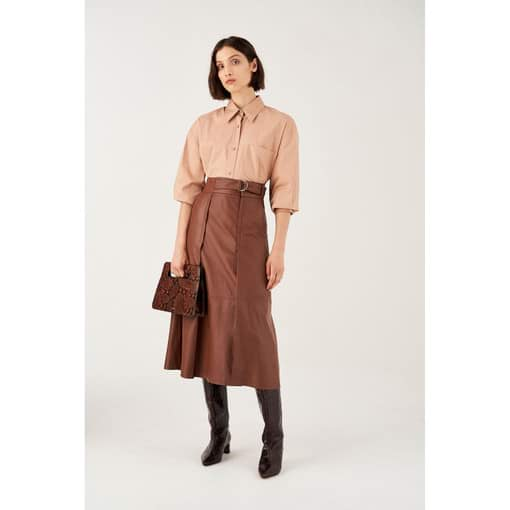 Oroton Leather Tab Detailed Skirt in Rich Cocoa and 100% Leather for female