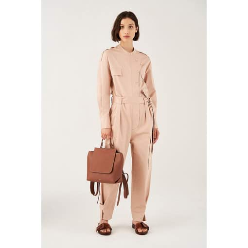 Oroton Cotton-Stretch Pocket Detail Jumpsuit in Blush and 97% Cotton 3% Polyurethane for female