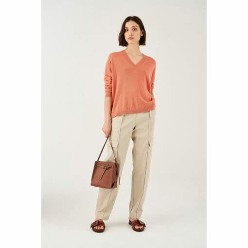 Oroton Fine Gauge V-Neck Knit in Quince and 100% Wool for female