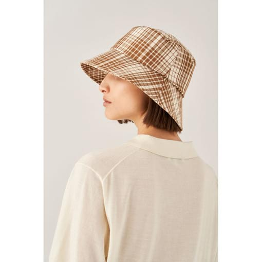 Oroton Frida Check Bucket Hat in Dark Rye and 70% Cotton 30% Polyester for female