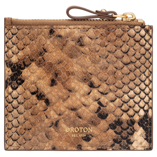 Oroton Frida Texture 3 Credit Card Zip Pouch in Dark Rye and Italian Snake Emboss Leather/ Smooth Leather for female