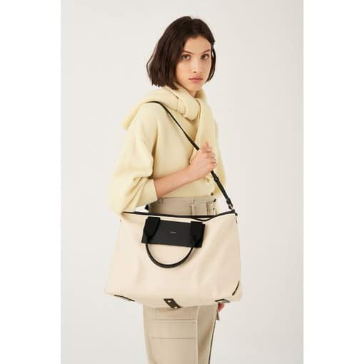 Oroton Svea Large Tote in Natural/Black and Natural Canvas/ Smooth Leather for female