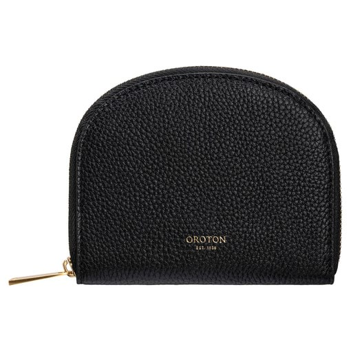 Oroton Daria Small Arc Wallet in Black and Pebble Leather for female
