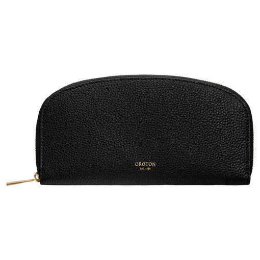 Oroton Daria Medium Arc Wallet in Black and Pebble Leather for female