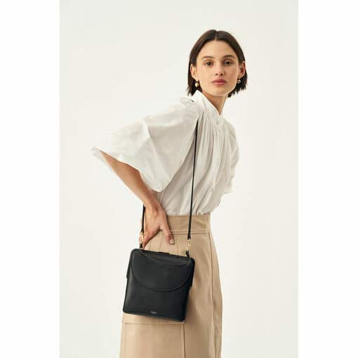 Oroton Etta Mini Shoulder Bag in Black and Smooth Leather for female