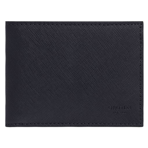 Oroton Eton 4 Card Mini Wallet in Ink and Saffiano/Smooth Leather for male