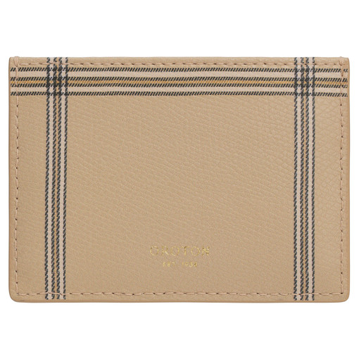 Oroton Muse Check 3 Credit Card Sleeve in Windowpane and Two Tone Saffiano/Smooth Leather for female