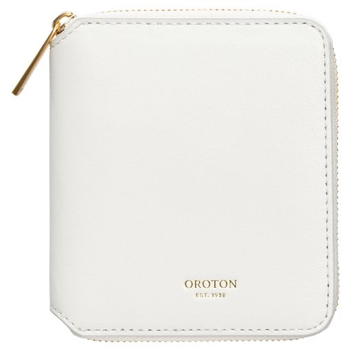 Oroton Jerome Small 7 Credit Card Zip Wallet in White and Smooth Leather for female