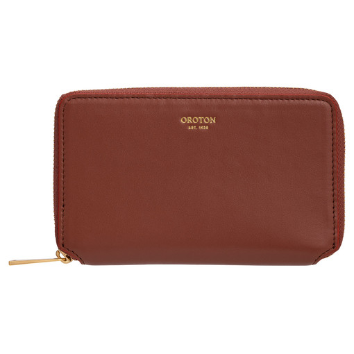 Oroton Evelyn Small Book Wallet in Rustic Brown and Smooth Leather for female