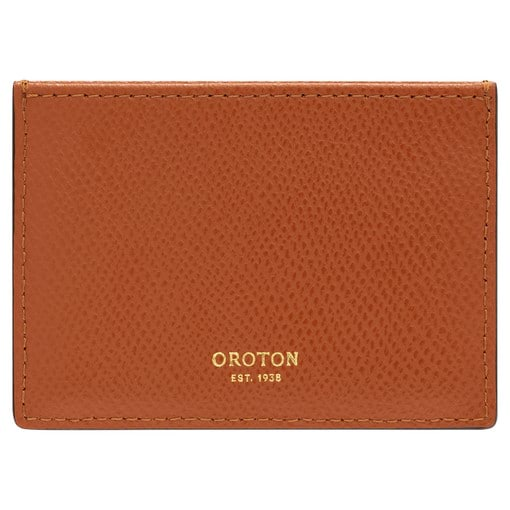 Oroton Muse 3 Credit Card Sleeve in Cognac and Saffiano Leather for female