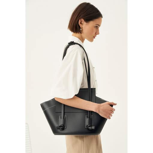 Oroton Klara Medium Tote in Black and Smooth Leather for female