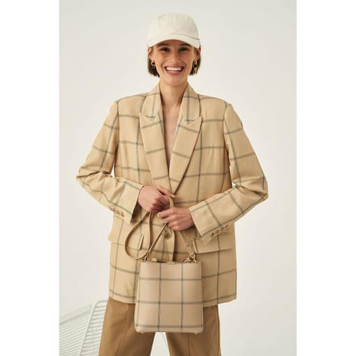 Oroton Windowpane Check Blazer in Light Sand and 55% Acrylic 45% Linen for female
