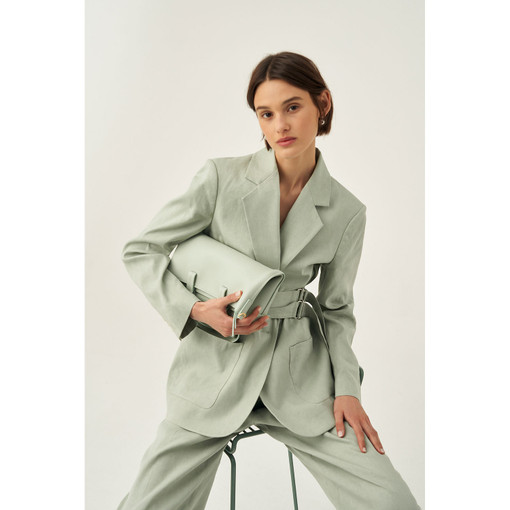 Oroton Belted Blazer in Green Birch and 65% Linen 34% Cotton 1% Elastane for female