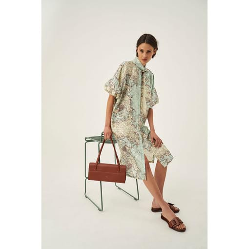 Oroton Silk Map Print Dress in Dusty Mint and 100% Silk for female