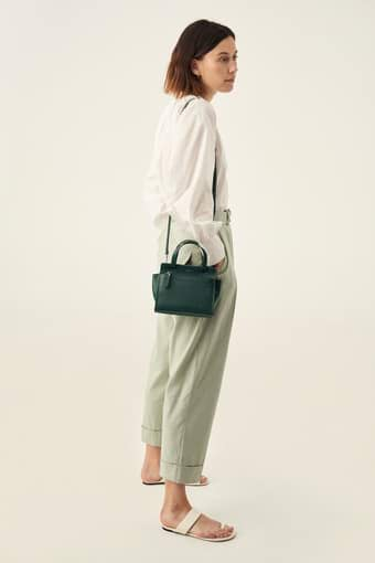 Oroton Lucy Mini Tote Crossbody in Fern Green and Pebble Leather for female
