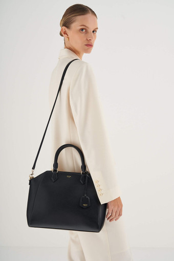 Oroton Inez Day Bag in Black and Saffiano Leather for female