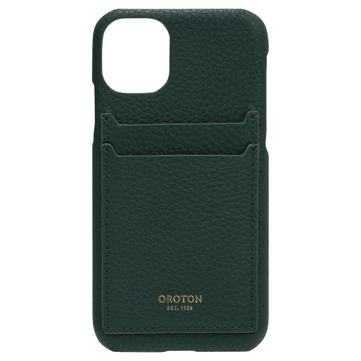 Oroton Lucy IPhone 11 2 Credit Card Cover in Fern Green and Pebble Leather for female