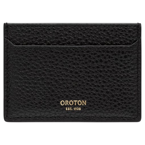 Oroton Anna Credit Card Sleeve in Black and Pebble Leather for female
