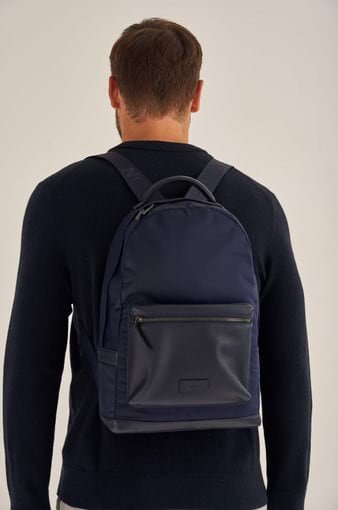 Oroton Otto Nylon Rounded Backpack in Ink and Nylon Oxford With Faux Leather Backing/ Pebble Leather for male