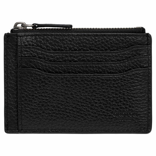 Oroton Harry Pebble Money Clip Credit Card Sleeve in Black and Pebble Leather for male