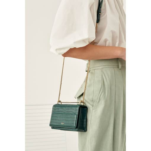 Oroton Forte Micro Clutch in Fern Green and Two Tone Croco for female