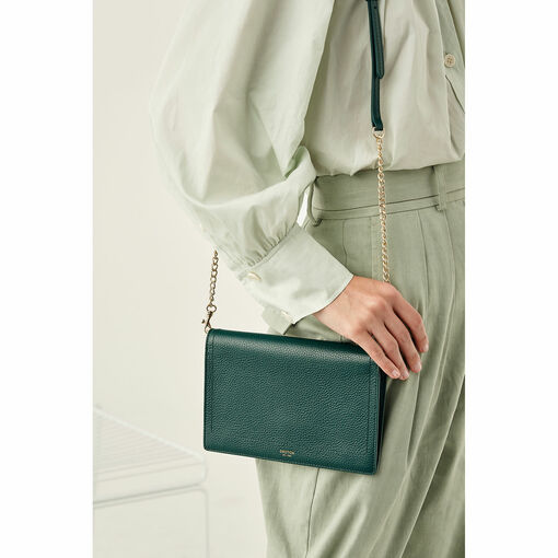 Oroton Lucy Fold Over Chain Crossbody in Fern Green and Pebble Leather for female