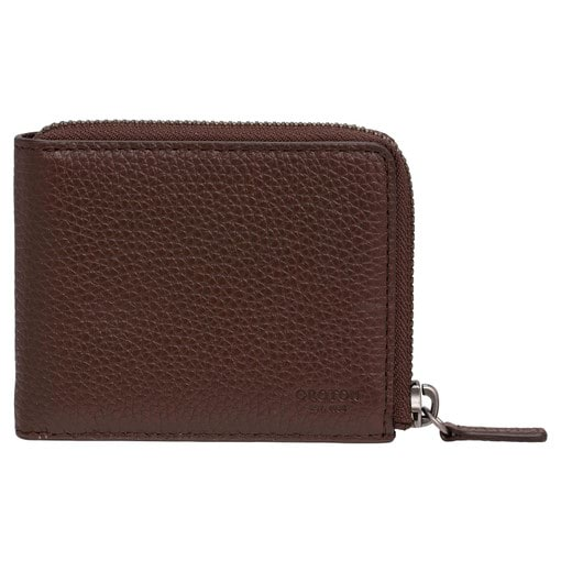 Oroton Harry Pebble 6 Credit Card Zip Wallet in Cedar and Pebble Leather for male