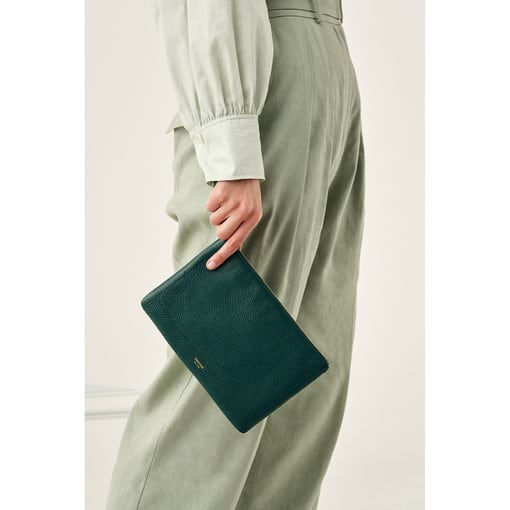 Oroton Lucy Medium Pouch in Fern Green and Pebble Leather for female