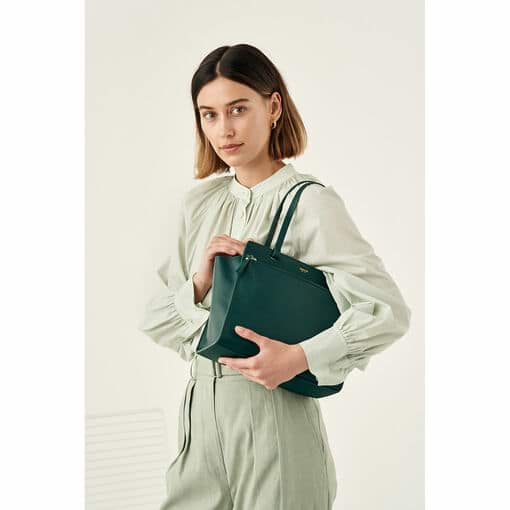 Oroton Lucy Small Tote in Fern Green and Pebble Leather for female