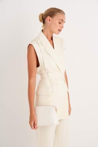 Oroton Inez Slim Crossbody in Cream and Saffiano Leather for female