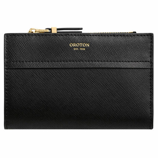Oroton Phoebe 10 Credit Card Zip Wallet in Black and Saffiano Leather for female