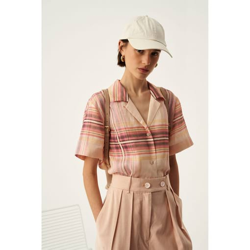 Oroton Linen Check Camp Shirt in Dusty Peach Check and 100% Linen for female
