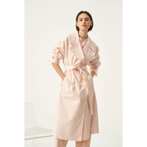 Oroton Double Breasted Trench in Dusty Peach and 77% Cotton 23% Linen for female