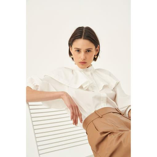 Oroton Cape Detail Blouse in White and 100% Cotton for female